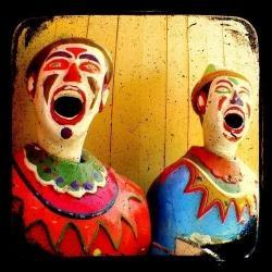 Clown Photo Print 5x5 TtV Carnival Photography - Retro Kitsch Vintage Style - Mustard - Red - Blue - Green